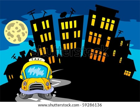 City silhouette with taxi and Moon - vector illustration.