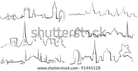 City silhouettes. London, Paris, Istanbul, Moscow, Rome, Vienna