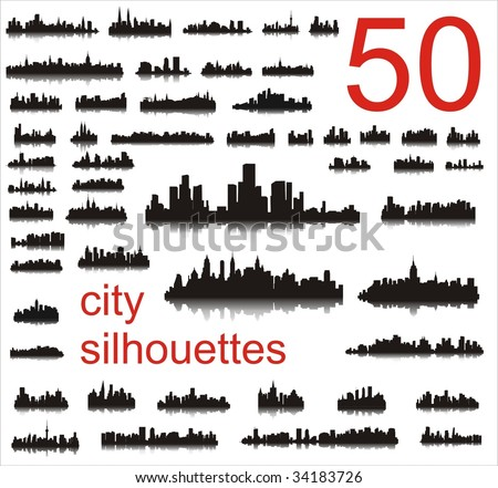 City silhouettes of the most popular cities of the world. Vector.