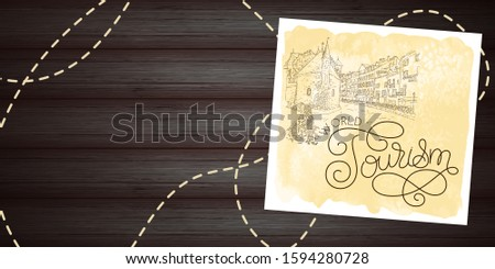 City sketching. Line art silhouette. Travel card on wood background. World tourism lettering. France, Annecy, Palais de l'Isle. Sketch style vector illustration.