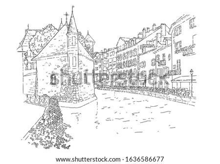 City sketching. Line art silhouette. Travel card. Tourism concept. France, Annecy, Palais de l'Isle. Isolated. Sketch style vector illustration.