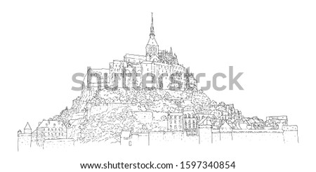 City sketching. Line art silhouette. Travel card. Tourism concept. France, Mont Saint-Michel. Isolated. Sketch style vector illustration.