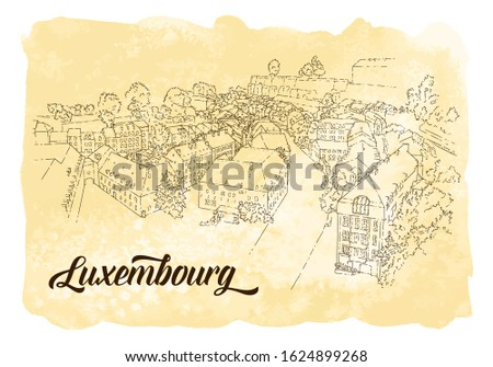 City sketching. Line art silhouette.Travel card with watercolor background. Tourism concept. Luxembourg. Sketch style vector illustration.
