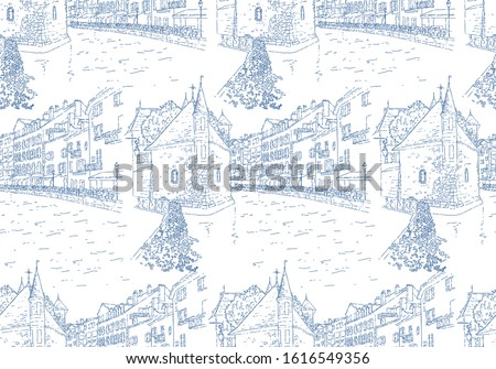 City sketching. Seamless pattern. Line art silhouette. Travel card. Tourism concept. France, Annecy, Palais de l'Isle. Sketch style vector illustration.