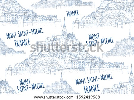 City sketching. Seamless pattern. Line art silhouette. Travel card. Tourism concept. France, Mont Saint-Michel. Sketch style vector illustration.