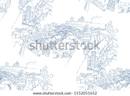 City sketching. Seamless pattern. Line art silhouette. Travel card. Tourism concept. Luxembourg. Sketch style vector illustration.