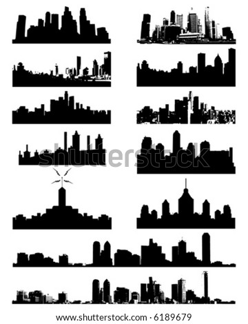 stock vector : City Skyline and Silhouettes