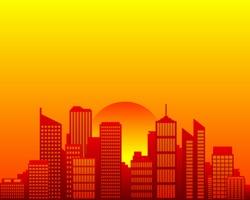 City skyline and sun