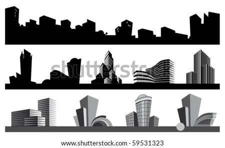 City skyline and urban icons