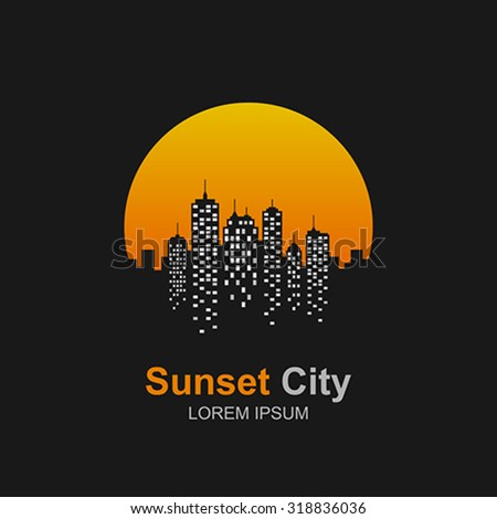 city skyline at sunset icon