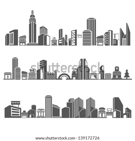 city skyline building in downtown skyline sets cities silhouette icon set