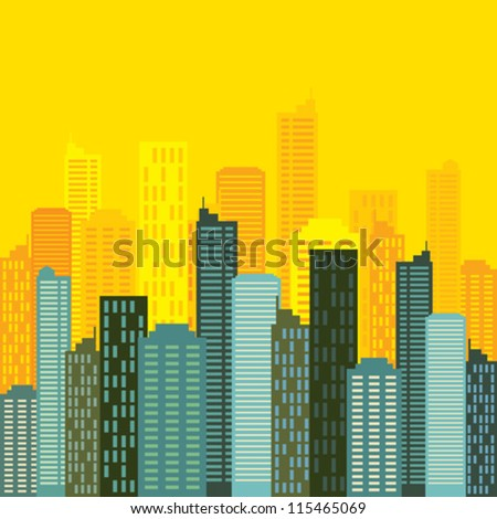 city skyline buildings vector