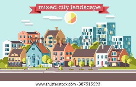 City skyline 3d style illustration