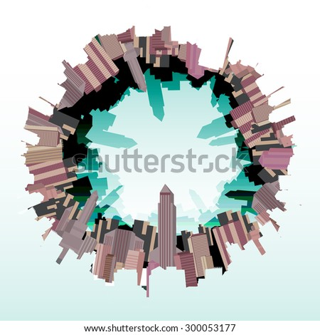 city skyline fish eye  vector