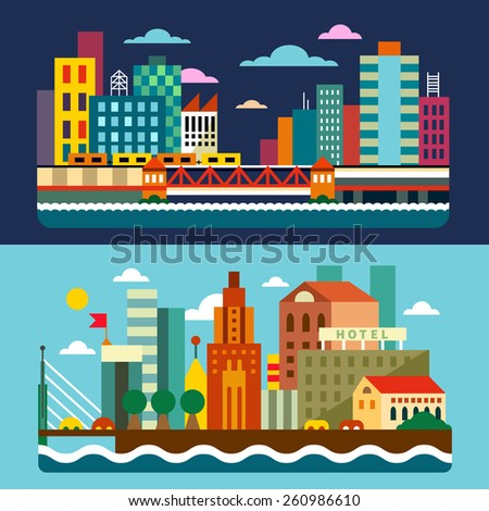 city skyline megalopolis day