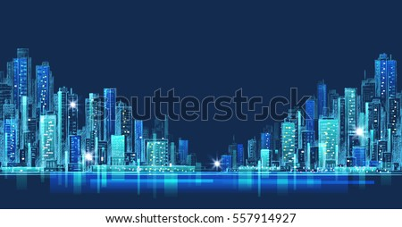 City skyline panorama at night, hand drawn cityscape