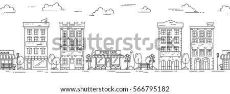 City skyline seamless pattern in line art style - landscape with houses, trees and clouds. Isolated vector illustration of beautiful cityscape for real estate and property banner or card.