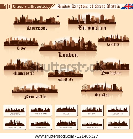 City skyline set. Great Britain. Vector silhouette illustration.