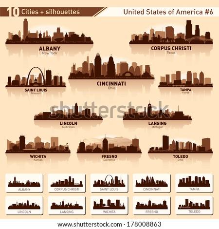 city skyline set 10 vector