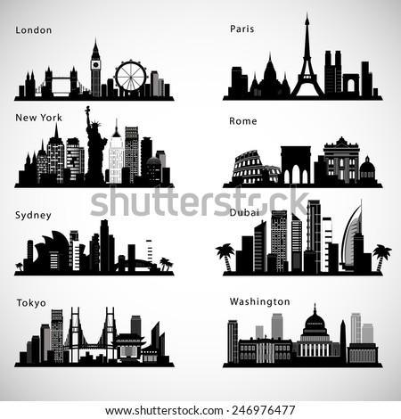 city skyline set vector
