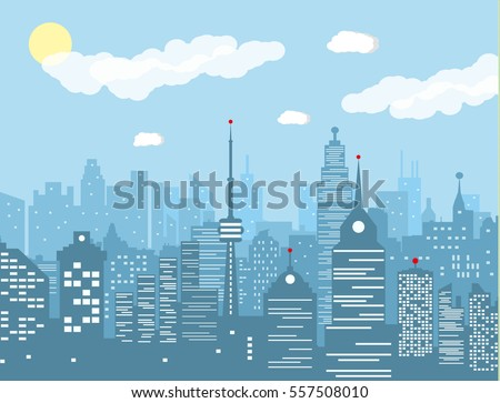 City skyline silhouette at day. skyscappers, towers, office and residental buildings. vector illustration