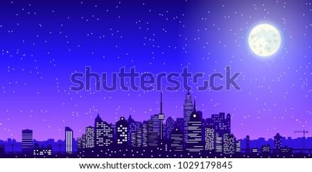 city skyline silhouette at dusk