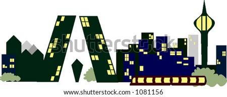 Stock vector city skyline vector based in madrid spain cartoon style