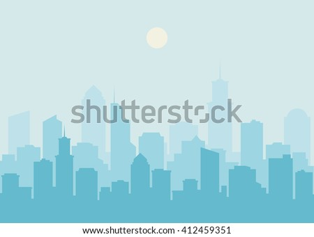 Shutterstock City skyline vector illustration. Urban landscape. Blue city silhouette. Cityscape in flat style. Modern city landscape. Cityscape backgrounds. Daytime city skyline.