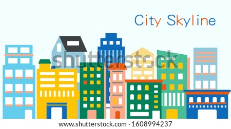 City skyline with colorful buildings. graphic design. vector flat illustration.
