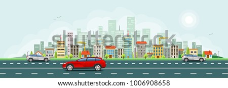 City skyline with houses vector banner