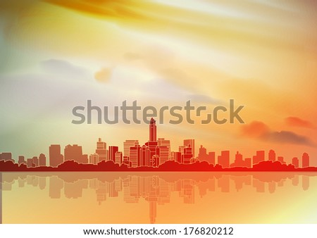 city skyline with reflections