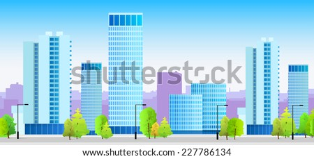 city skylines blue illustration architecture modern building cityscape vector