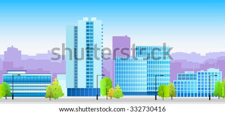 City Skylines Blue Illustration Architecture Modern Building Cityscape Vector Illustration