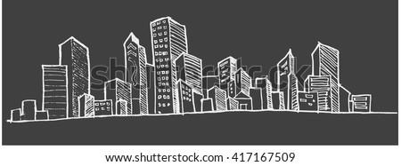 city skylines in cartoon doodle