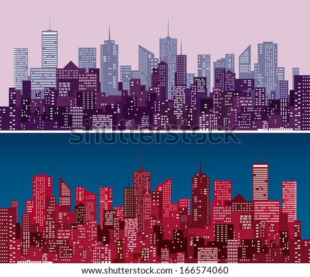 city skylines in  purple and