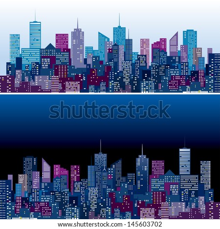city skylines in two purple and
