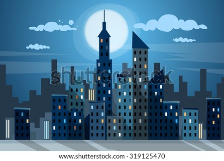 city skyscraper night view