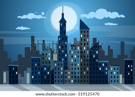 city skyscraper night view