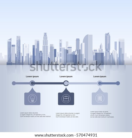 City Skyscraper View Cityscape Background Skyline Silhouette with Copy Space Infographics Vector Illustration