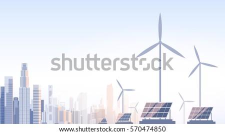City Skyscraper View Cityscape Wind Tribune Solar Battery Renewable Energy Source Vector Illustration
