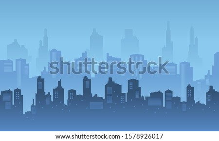 city skyscraper with blue and