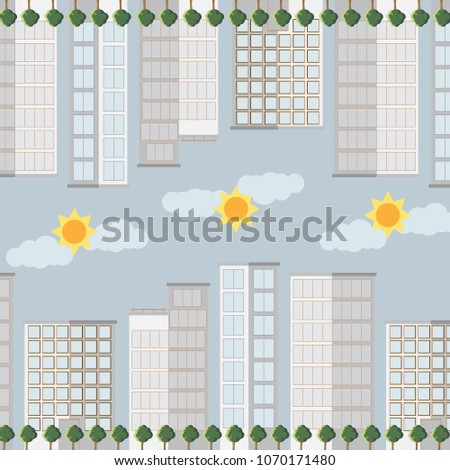 City skyscrapers pattern design.Vector illustration.