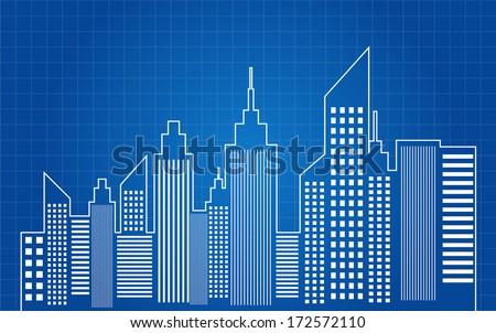 Skyscraper building vector download free vector art stock city skyscrapers skyline blueprint vector malvernweather Images