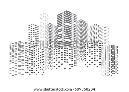 City Skyscrapers vector illustration. Buildings at night. Urban scene. Vector  design element isolated on white background.