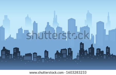city   skyscrapers with foggy