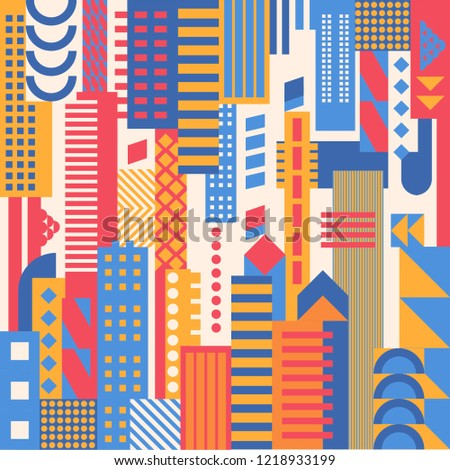 city, smart city concept, modern design. Geometric urban landscape, banner and poster pattern