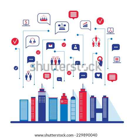 City social network Urban landscape filled with business icons communication concept City infographic elements Vector illustration