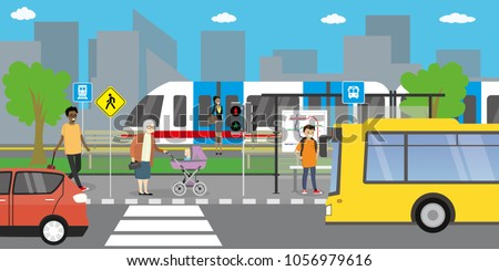 City street and road,public transport stop,different people go and stand,urban life concept,outdoor flat vector illustration.