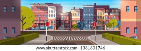 city street building houses architecture empty downtown road, urban cityscape early morning sunrise horizontal banner flat
