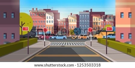 city street building urban traffic cars on road downtown early morning sunrise horizontal banner flat